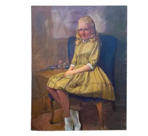 Old Portrait - Girl in Her Pretty Yellow Dress