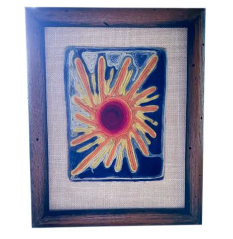 Mid Century Framed Crewel Art - Sunburst
