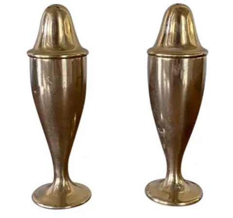 Pair, Solid Brass Salt and Pepper Shakers