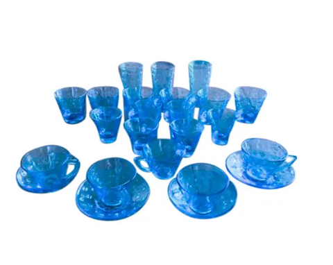 Set of 24 Mid Century Blue Glasses - Cocktail, Shot, Drink, Tea Cup