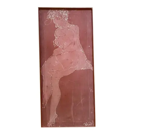 Mid Century Batik Print - Female Form, Signed