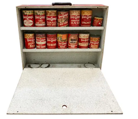 Early Mid Century Salesman Sample Case -Van Camps Canned Foods - Warhol-Esque Style Art