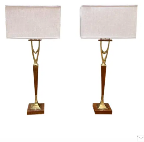 Pair, Gerald Thurston, Laurel Lamp Style Wishbone Table Lamps