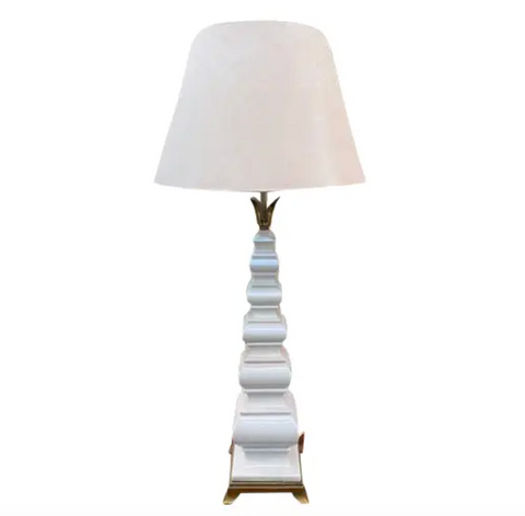 Mid Century White Ceramic and Brass Pagoda Form Lamp