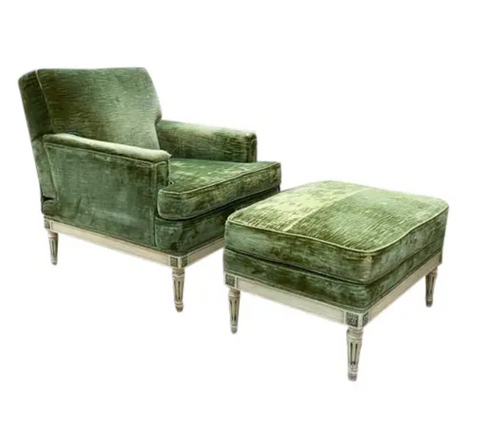 1940's Green Velvet Chair and Ottoman