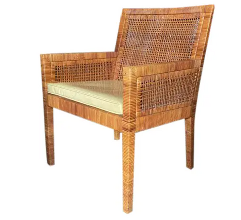 Billy Baldwin for Bielecky Rattan Basket Weave Arm Chair