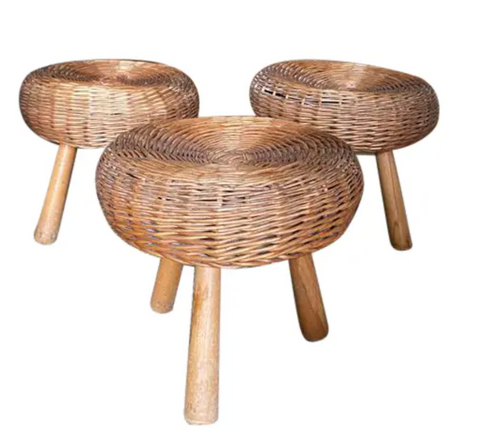 Set of Three Mid Century Tony Paul Wicker Stools