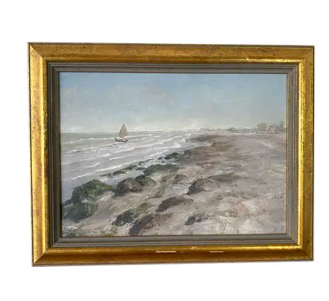 Oil Painting -Boat on a Rocky Coast, Signed