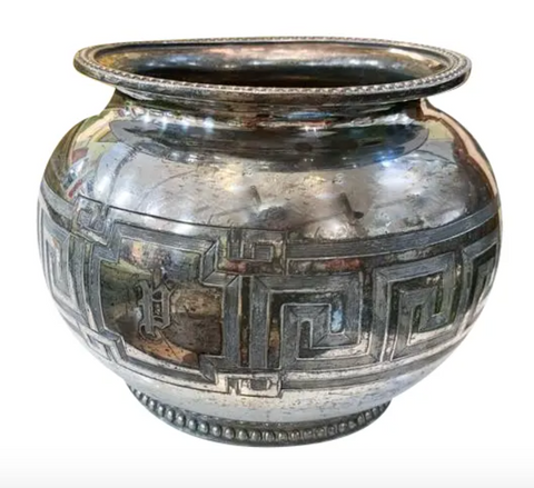 Old Silver Plate Vase - Greek Key Pattern