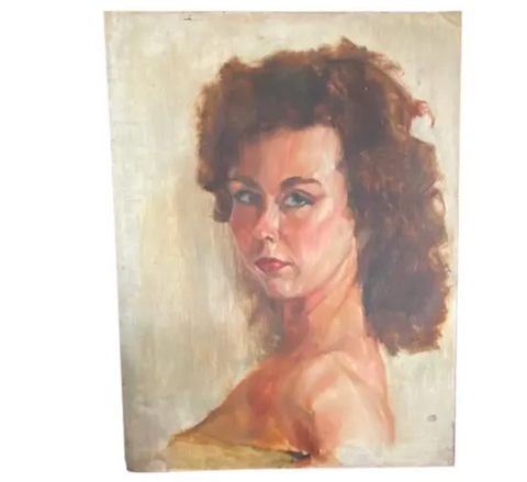 Mid Century Lady Painting, Red Head