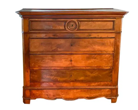 Antique Chest of Drawers With Center Carved Medallion
