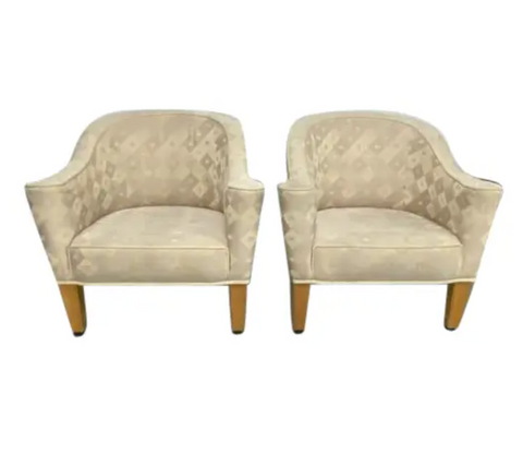 Pair, Designer Josef Hoffmann Villa Gallia Lounge Chairs by Wittmann, Austria, Signed