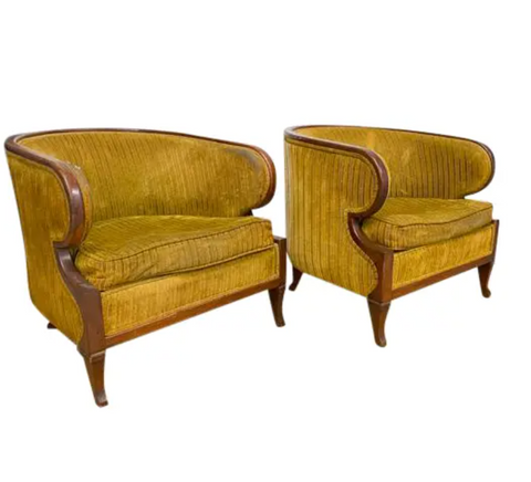 Pair, Mid Century Round Back Mahogany Club Chairs - Designers Restoration Project