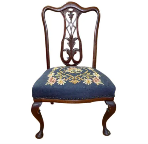 Antique Federal Mahogany Chair With Needlepoint Seat