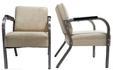 Pair, 1930's Industrial Style Metal, Faux Leather Chairs
