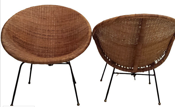 Pair of Mid Century Rattan Circle Spoon Chairs