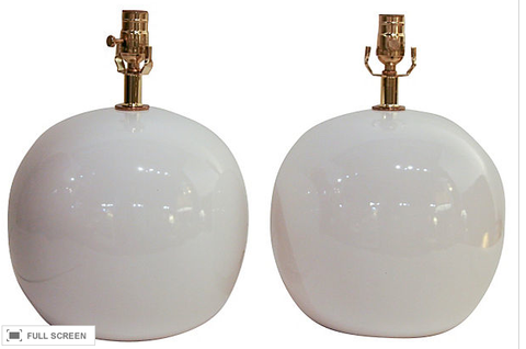 Pair, Vintage White Globe Lamps