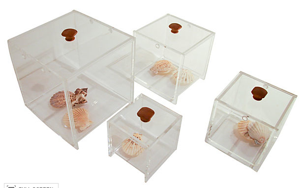 Set of  4 Mid Century Lucite Lidded Boxes