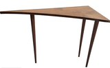 Mid Century Walnut Unusual Triangular Table