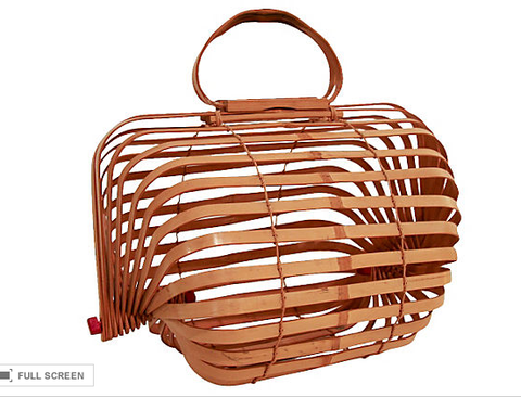Vintage Wood Knitting Basket, Asian