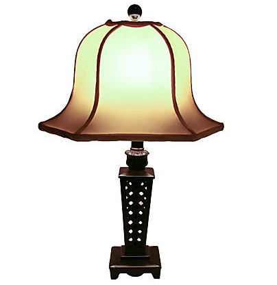 Vintage Asian Lamp with Silk Pagoda Shade