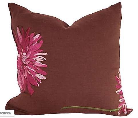 Linen Pillow, Embroidered Flowers