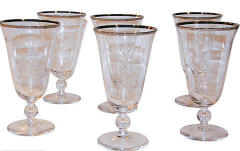 Set of 6 Vintage Glass, Etched Wine Glasses