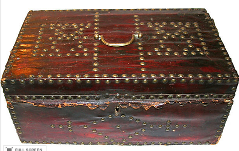 Antique Leather Chest with Nailheads