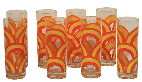 Set 8 1970's Rainbow Glasses