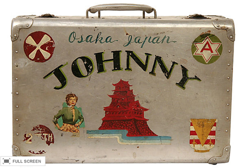 Vintage WWII Painted Suitcase