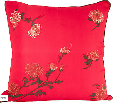 large new red silk pillow