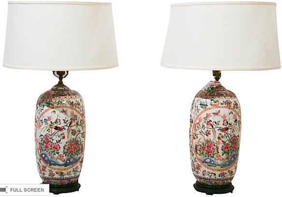 Pair, Vintage Rose Medallion Asian Lamps