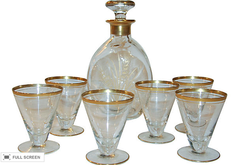 Mid Century Decanter, six glass Set - Wheat Pattern