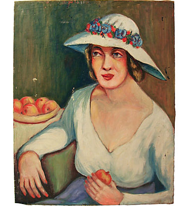 Vintage Oil on Canvas, Woman with Fruit