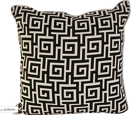 New Pillow, Made from Vintage Silk Fabric, Greek Key