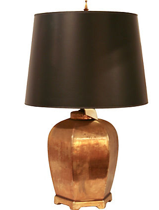 Vintage Brass Asian Ceramic Lamp