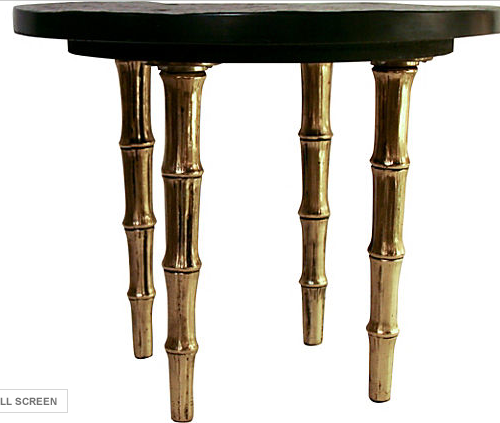 Mid Century Brass and Stone Faux Bamboo Occasional Table