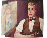 Vintage Oil on Canvas, Man painting a Nude