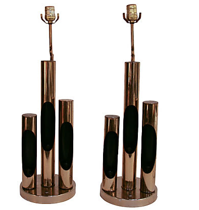 Pair, Mid Century Brass 3 Cylinder Lamps