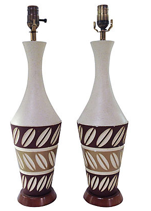Pair, Mid Century Ceramic Lamps