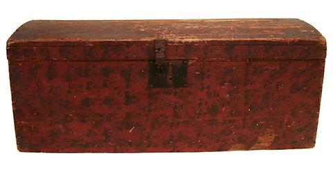 Antique Primitive Painted Trunk