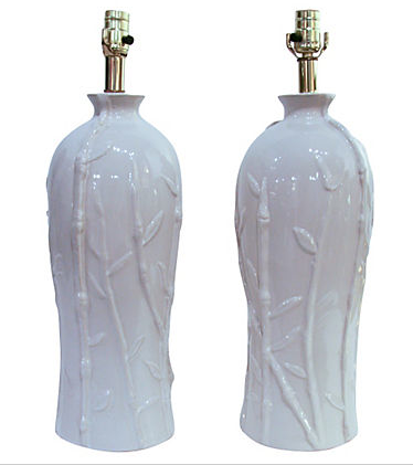 Pair, Hollywood Regency Faux Bamboo Lamps