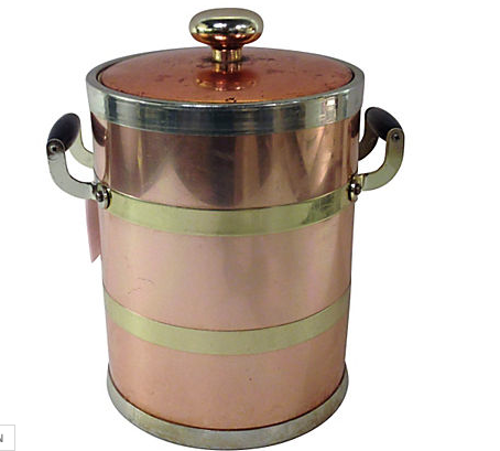 Vintage Copper and Steel Ice Bucket