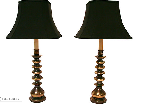 Pair, Mid Century Brass Lamps