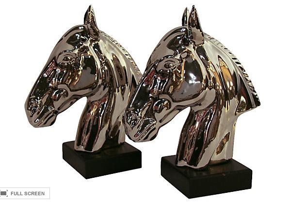 Pair, Silvered Horse Head Statues