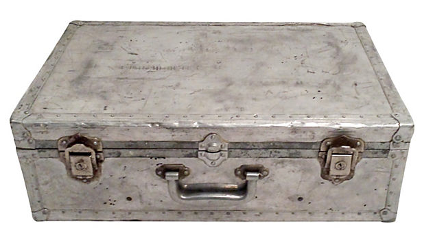 Vintage Aluminum Suitcase with Rivets