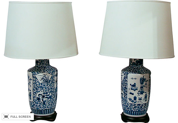 Pair, Vintage Blue Willow Lamps