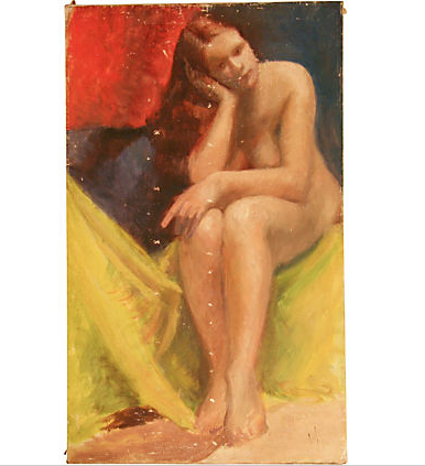 Vintage Oil on Canvas, Nude