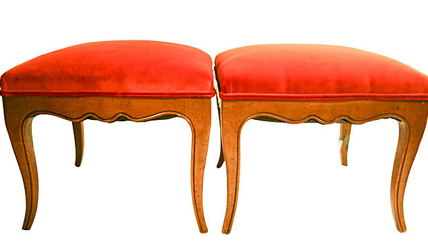 Pair, Mid Century French Stools