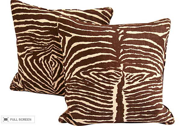 Pair, Zebra Pillows made by Reposed NY